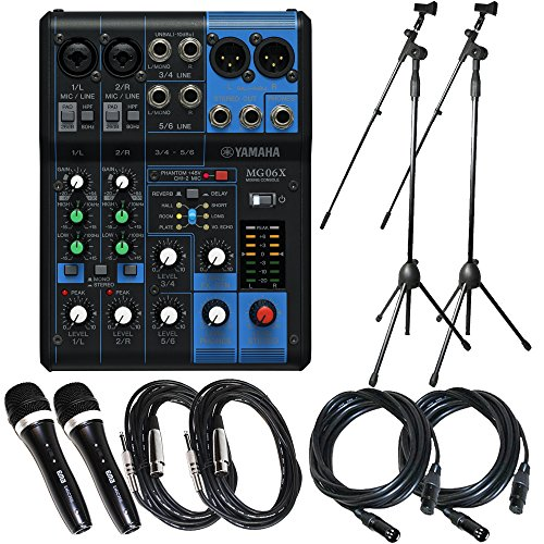 Watt Compact Mixer - Yamaha Package Bundle: Yamaha MG06X 6-Input Compact Stereo Mixer with Effects + 2 Microphone Stands + 2 EMB Emic700 Dynamic Undirectional Microphones w/ Cables + 2 XLR XLarge Cables