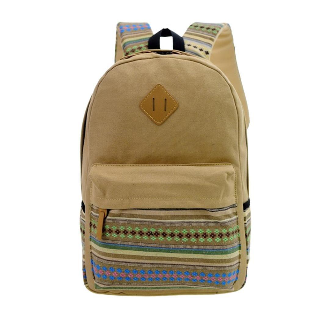 VIASA New Womens Girls Fashion Canvas Vintage Backpack Rucksack College Shoulder School Bag (Gray)
