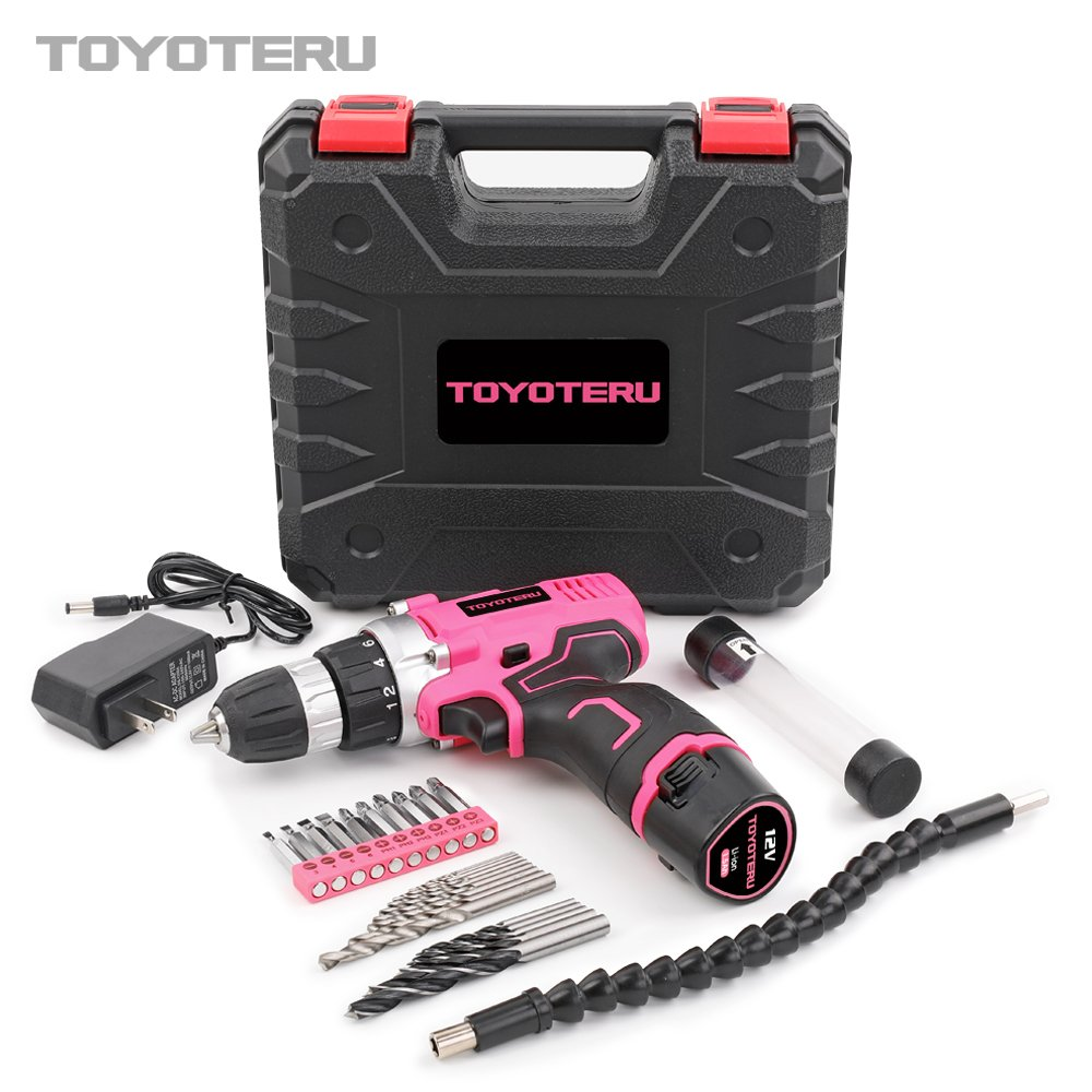 TOYOTERU Powerful 12 Volt Lithium-Ion Cordless Drill Driver Kit Pink Tool for Women- 25PCS Drill Accessory, 2 Gears,1500mAh Battery & Charger in Blow Mold Case by TOYOTERU