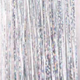 Creazy Hair Tinsel Sparkle Holographic Glitter Extensions Highlights Party Wig (Silver)
