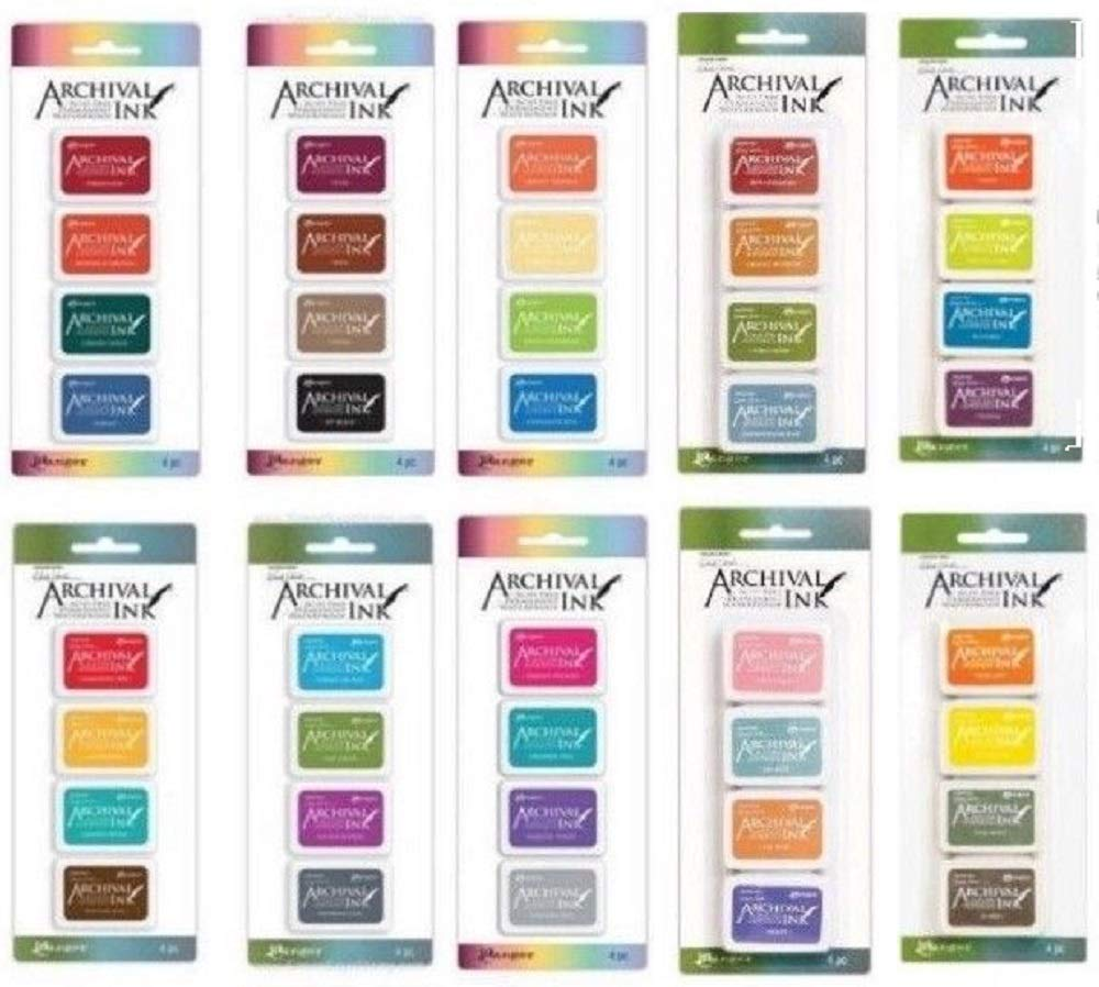 Ranger Mini Archival Ink Pads Bundle Complete Set Includes Wendy Vecchi 10 Packs Bundle - 40 Ink Pads totals with Bonus Mixing Cups