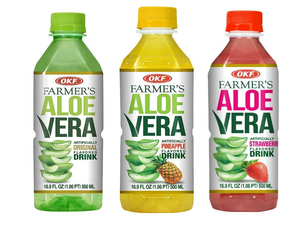 OKF Farmer's Aloe Vera Drink, Original, Pineapple and Strawberry, 16.9 Fluid Ounce (Pack of 20 each)