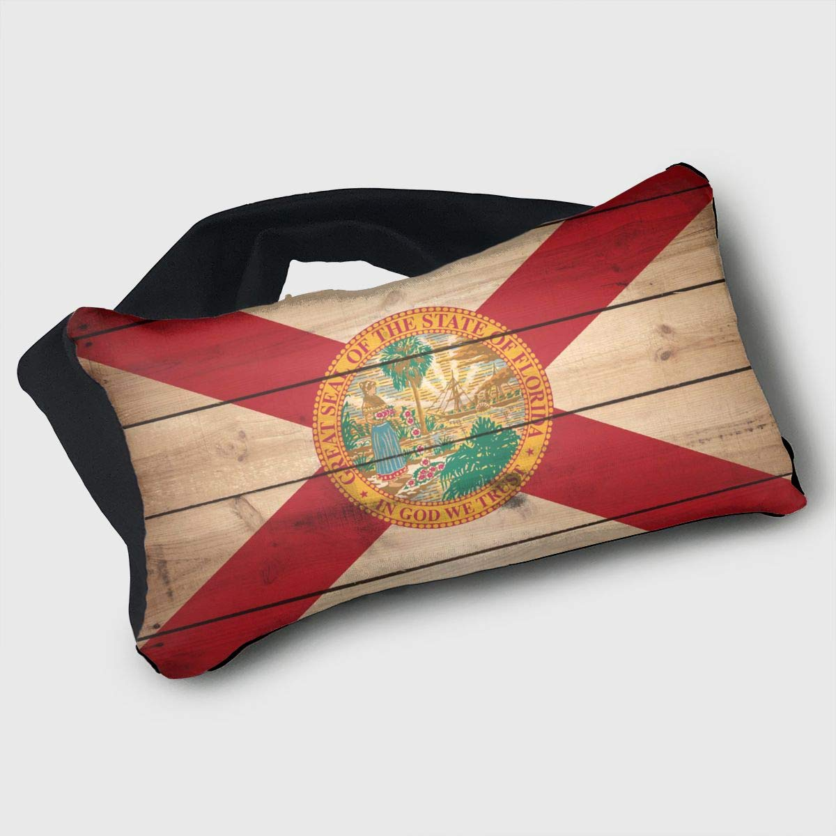 GLing-LIFE Florida State Flag Wood Texture Portable Voyage Pillow Travel Pillow and Eye Mask 2 in 1 Neck Head Support for Airplanes, Cars, Office Naps, Camping, Trains by GLing-LIFE (Image #1)