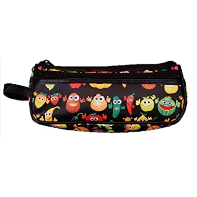 Fruit Vegetable Toiletry Travel Bag Case Black 2 Zipper Gift - Cosmetics, Jewelry, Accessories, Electronics