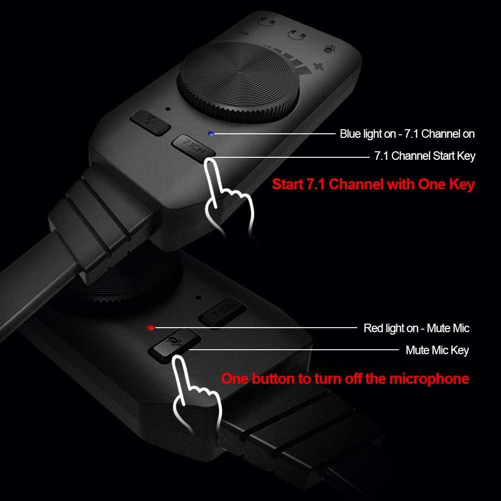 Scheda audio esterna GS3 USB 2.0 Adattatore per scheda audio virtuale a 7.1 canali Plug and Play con cuffie Jack per microfono Controllo volume Microfono muto per PC laptop desktop Nessun driver