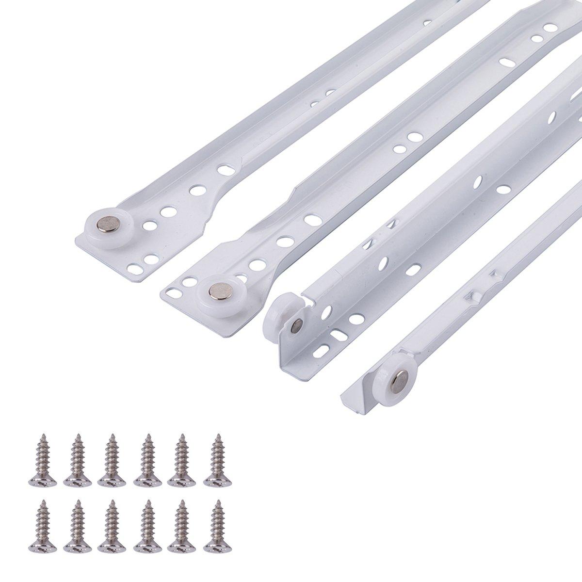 30,5 cm paquete de 2 Gu/ías correderas para cajones revestimiento blanco en polvo tipo europeo Basics