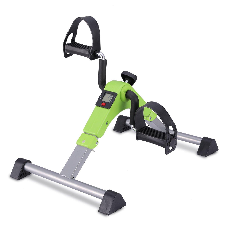 MOMODA Exercise Bike Foot Peddler with LCD Monitor for Light Exercise (Green/Grey)