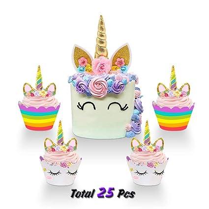 Amazon.com: NiceLife Decoración tipo unicornio para tarta de ...