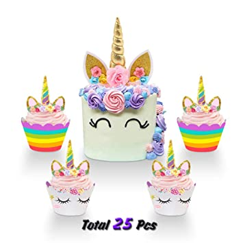30f79d93362f Unicorn Cake Topper and Unicorn Cupcake Toppers Wrappers Set Handmade Gold  Unicorn Horn...