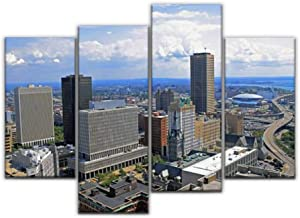 Sudoiseau Wall Art Painting Buffalo Downtown and Waterfront Buffalo ny Stock Pictures, Royalty Pictures Canvas Prints Poster Oil Paintings Landscape Paint Modern Home Decor Artwork Gift, 4 Panels