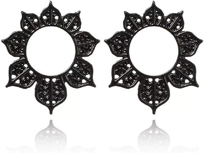 Tribal Hollow Leaf Flower Studs Earring For Women Floral Studs Earring Black Statement Earrings