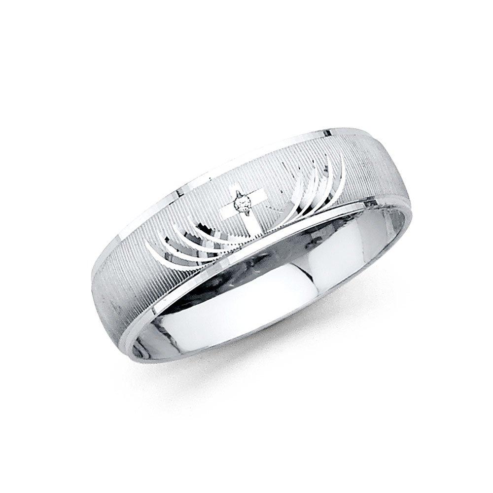 GoldenMine Mens 14K White Gold Diamond Cut CZ Wedding Band Multiple Sizes Available