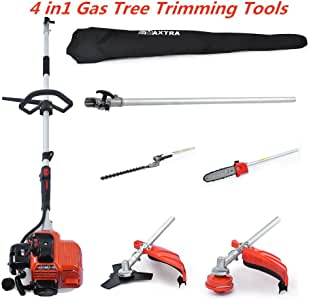 Reach to 16Feet Extension Gas Pole Saw for Tree Trimming, Multifunctional Cordless Gas Pole Chainsaw Hedge Trimmer Grass Brush Cutter Combo Tools with Portable Bag