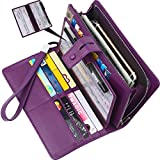 Wallet for women-RFID Blocking Real Leather checkbook wallet clutch organizer,checkbook holder(Purple)