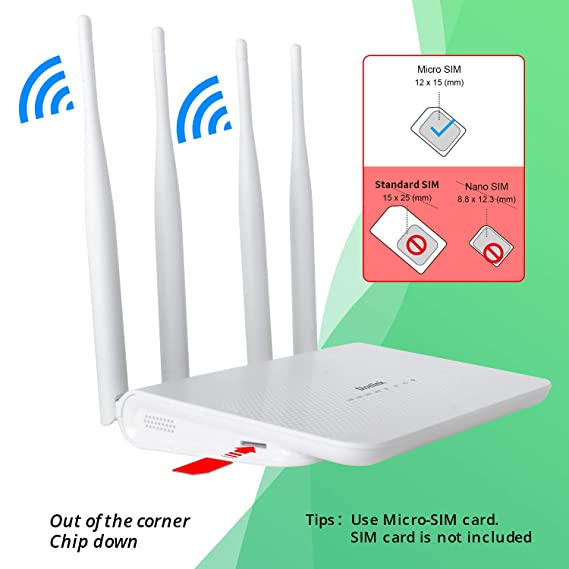 Dionlink 4G LTE CPE Unlocked 4G Wireless Router with SIM Card Slot-300Mbps WiFi Router,WiFi Hotspot,Support T-Mobile AT&T (4 Antenna)