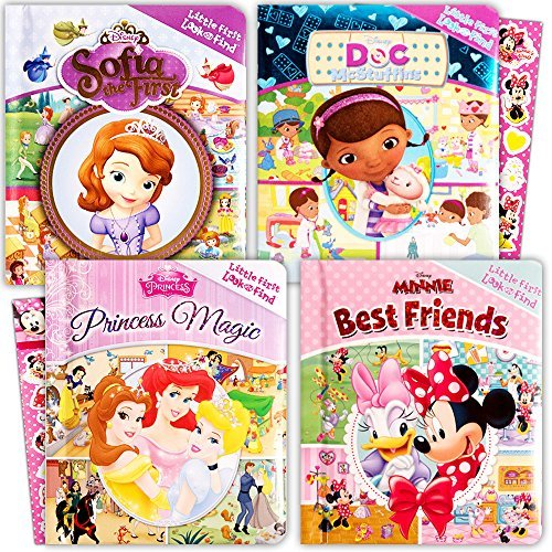 Disney Look and Find Books Set Kids Toddlers -- 4 Books w Stickers (Disney Princess, Minnie Mouse, Sofia the First, Doc McStuffins) ()