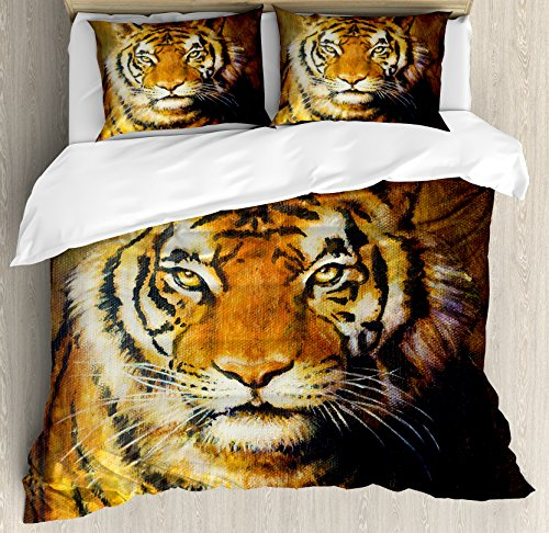 Ambesonne Tiger Duvet Cover Set King Size, Oil Painting Style Big Cat Purposeful Eyes Carnivore Bengal Feline of East, Decorative 3 Piece Bedding Set with 2 Pillow Shams, Brown Black