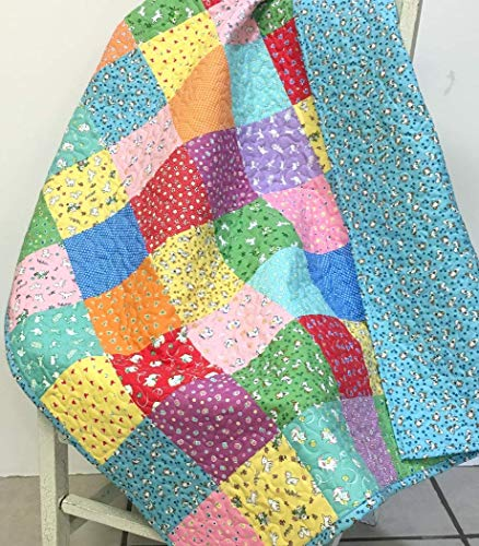 (Handmade Baby Girl Quilt Patchwork Colors Crib Nursery Bedding 1930s Feedsack Style)