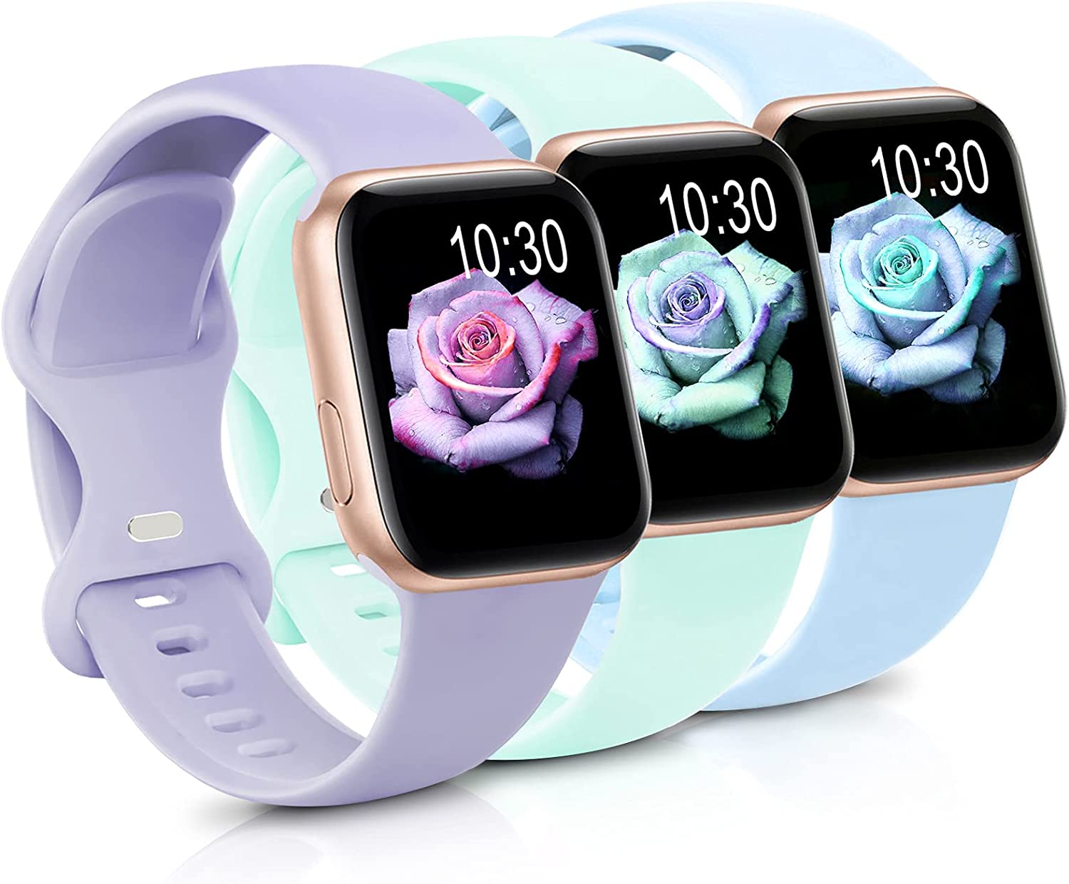 3 Pack Band Compatible with Apple Watch Bands 38mm 40mm 42mm 44mm for Women Men, Soft Silicone Sport Replacement Strap Wristbands Compatible with iWatch Series 6 5 4 3 2 1 SE