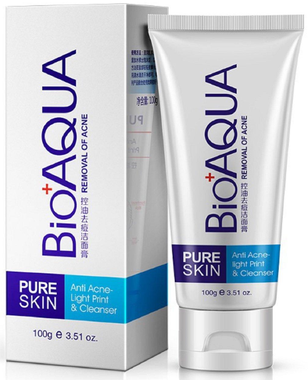 BIOAQUA PURESKIN- Anti Acne Cleanser & Facial Cleanser Acne Treatment Blackhead Skin Cleaner Acne Remover Face Care – {100g} PrimeStellar