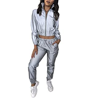 CRYYU Women Long Sleeve Tracksuit Reflective 2 Pieces Outfits Crop Tops Shorts Set