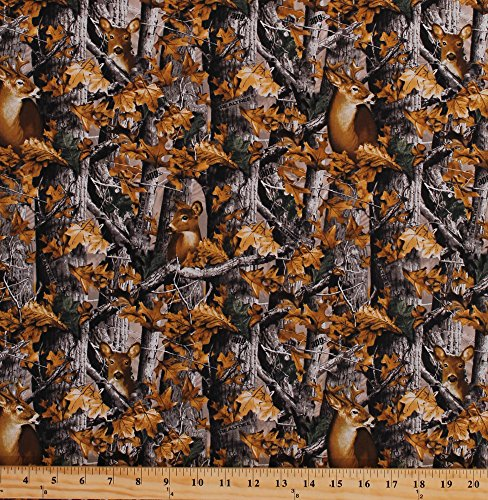 (Cotton Realtree Woods Deer in Camo Camouflage Trees Leaves Outdoors Hunting Nature Animals Wildlife Cotton Fabric Print by the Yard (9908))