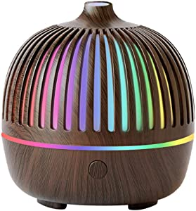 Diffuser for Essential Oils Diffusers, Aromatherapy Diffuser Air Cool Mist Humidifier with 7 Colorful Lights, 2 Mist Mode, Ultrasonic Auto-Off for Home, Bedroom Wood Grain Brown