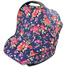 Stretchy 4-in-1 Carseat Canopy | Nursing Cover | Shopping Cart Cover | Infinity Scarf- Vintage Navy Floral Print | Best Baby Gift for Girls | Fits Most Infant Car Seats | Great For Breastfeeding Moms