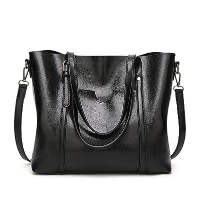 KARRESLY Leather Women Top Handle Satchel Handbags Shoulder Bag Shopping Messenger  Tote Bag Purse(Black d92bf735ed