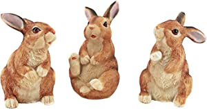 Bellaa 24698 The Bunny Den Rabbits Garden Animal Statues 5 Inch Set of 3