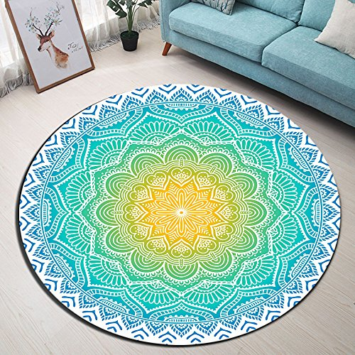 LB Watercolor Round Mandala Area Rug Hippe Style Blue Gold Lotus Flower Circle Carpet Rugs for Kids Playroom Bedroom Living Room,Non-Slip Memory Foam Luxury Home Decor 2