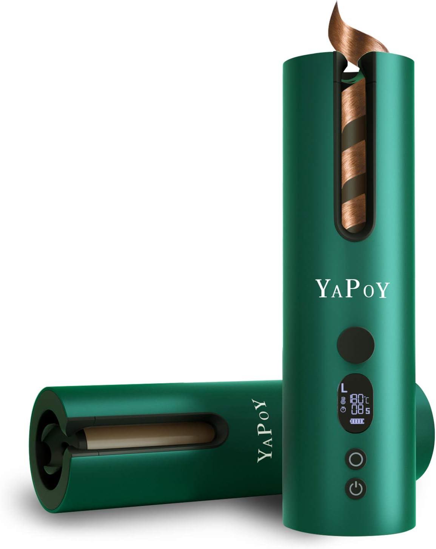 YAPOY Rizador Pelo Automático Planchas Rizadoras con Batería Recargable de 5200 mAh Pantalla LCD y Calentamiento Rápido 5 tipos de control de temperatura y ajustes de temporizador Verde