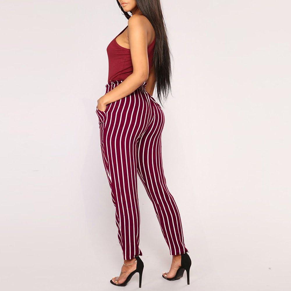 RNUYKE High Waist Bow Tie Harem Pants Women Office Skinny Elastic Waist Striped Casual Trousers White,Black,Wine S-XXXL