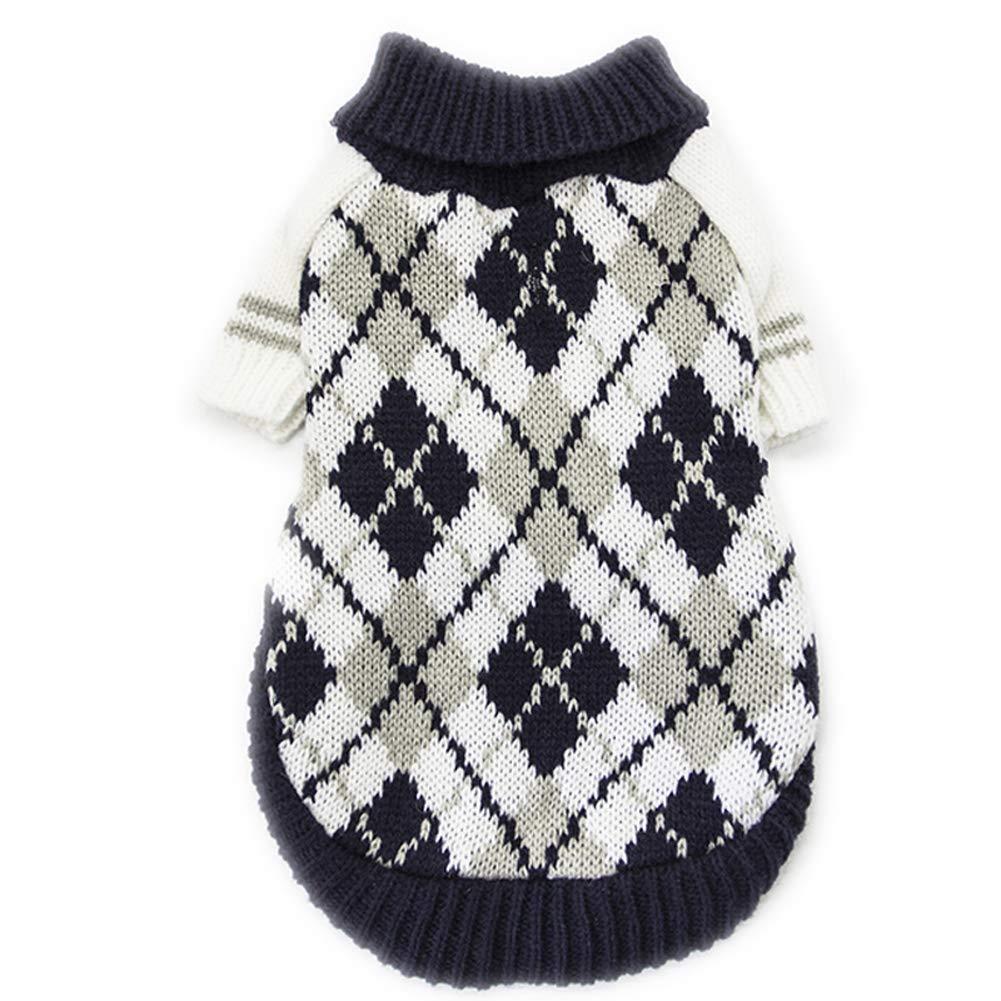BABAHU Knitted High Collar Diamond Plaid Cat Dog Sweater, Cat Dog Accessories, Cat Dog Apparel, Pet Sweatshirt