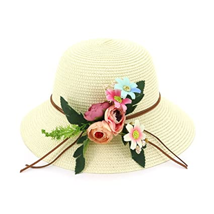 27a407303161e6 Amazon.com: Ruiyue Summer Straw Hats, Casual Sunhat Straw Floral Hat ...