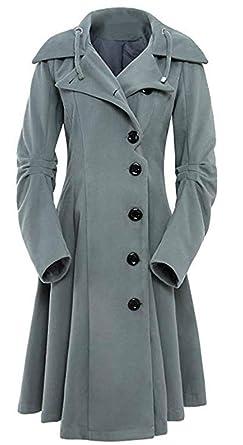 quality design 07cee 25b75 Flabor+Mantel Damen Winter Mantel Lang Elegant Wintermantel Trenchcoat  schwarz Wollmantel Winterjacke Unregelmäßiger Saum Outwear