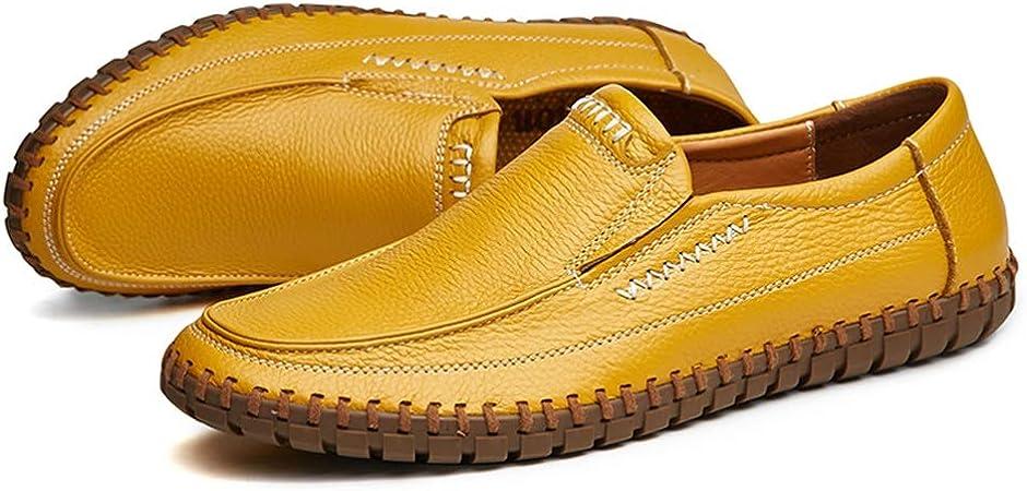 Zhulongjin Mocasines de conducción livianos for Hombres Mocasines sin Cordones de Estilo Retro Zapatos náuticos Suela de Costura Hecha a Mano de Cuero Genuino Suave Resistente al Desgaste Moda: Amazon.es: Hogar