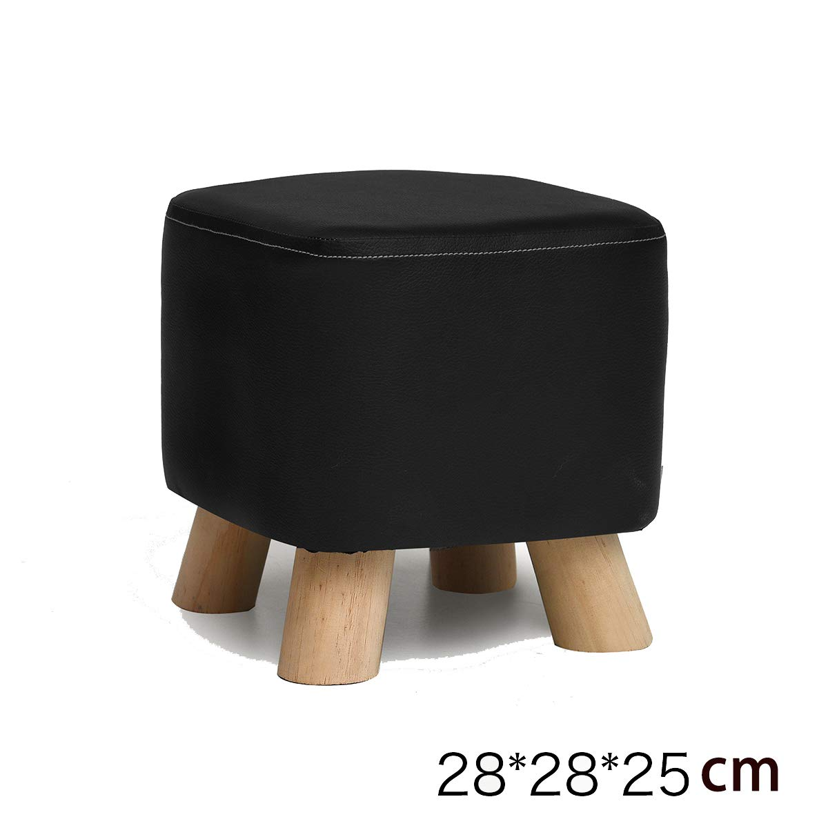 Square stool 5 28×28×25cm Square Stool, Padded Footstool, Home Pu Cover, 4 Legs and Detachable Linen Cover   28  28  25Cm   Beech (White)