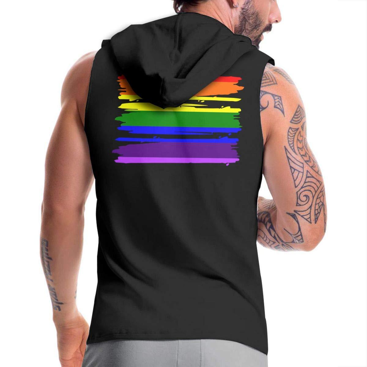BMWEITIHBQ Mens Sleeveless Hoodie LGBT Flag Zip Up Vest