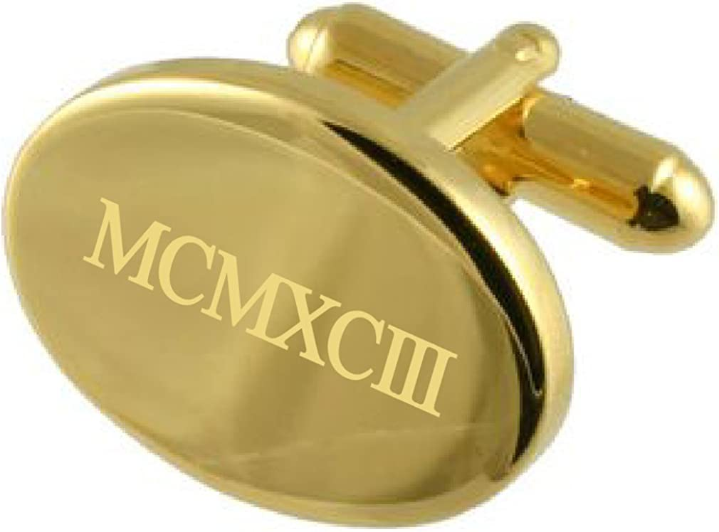 1993 Gold-tone Oval Birthday Year Number Age Roman Numeral Cufflinks