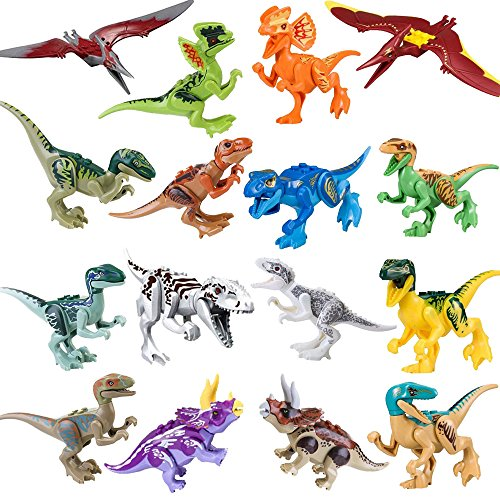 LTCtoy 16pcs Dinos Toy,Buildable Dinosaur Building Blocks Figures with Movable Jaws,Including T Rex,Triceratops, Velociraptor, etc