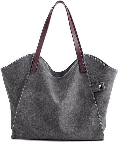 Mfeo Women's Canvas Large Capacity Tote Shoulder Work Bag Handbags Satchel Purse