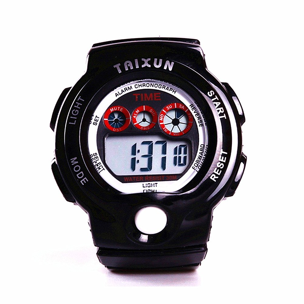TAIXUN Unisex Time Teacher Waterproof Outdoor Sports LED Display Electric Wrist Watch Pure Color Children Dress Watch with Alarm Stopwatch for Boys Girls Teens Black by TAIXUN