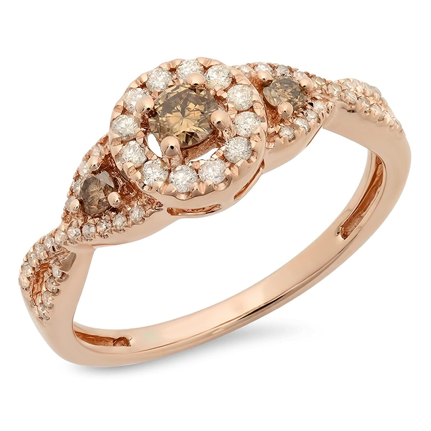 0.50 Carat (ctw) 10K Rose Gold Champagne & White Diamond 3 Stone Halo Bridal Engagement Ring 1/2 CT