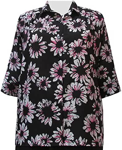 Black/White & Pink Sunflowers 3/4 sleeve tunic with shirring Plus Size Woman's Blouse