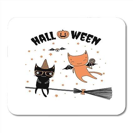 Amazoncom Nakamela Mouse Pads Funny Cartoon Cats One With Bat