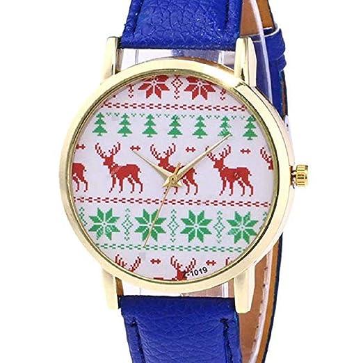 17908fc0e593 Scpink Mujeres Navidad Elk Relojes de Pulsera analógicos para Mujer Relojes  de Cuero Relojes Femeninos Liquidación