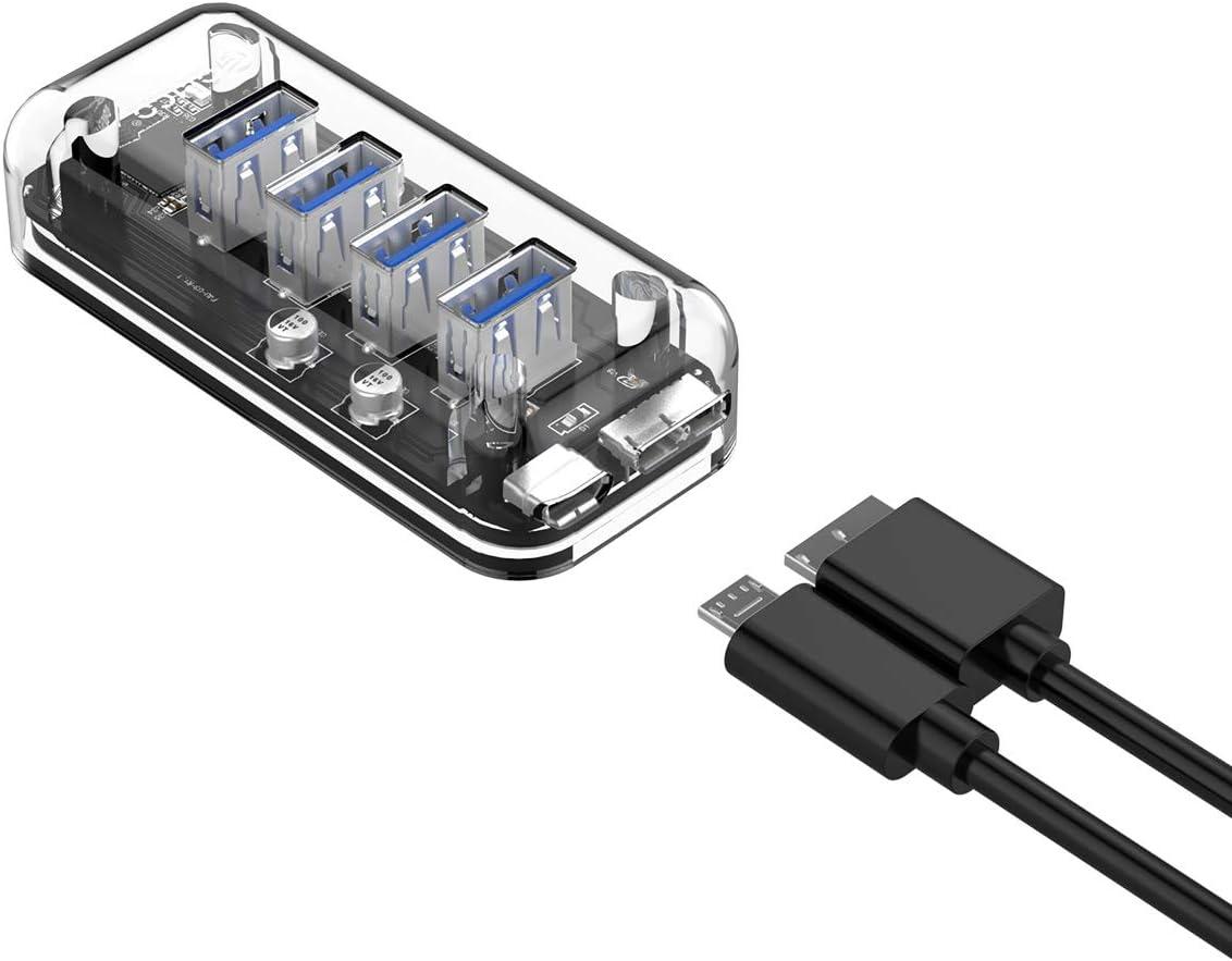4 Ports USB3.0 Transparent Desktop HUB with Blue Indicator Light /& Dual Port Power Supply ORICO USB 3.0 Hub