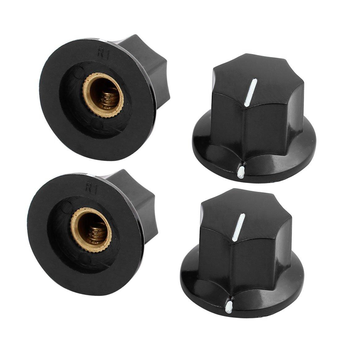 sourcingmap/® 4Pcs 6mm Knurled Shaft Plastic Nonslip Potentiometer Control Rotary Knob Cap