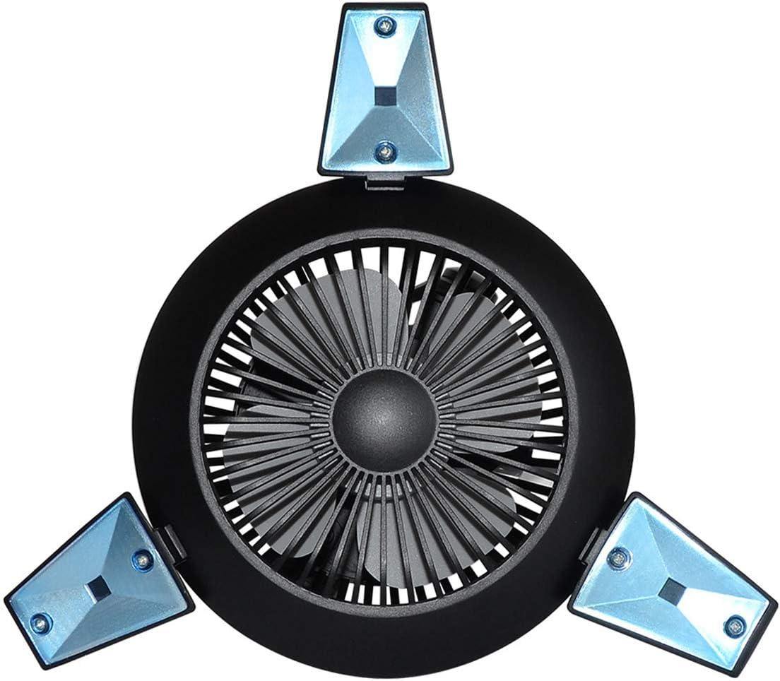 Rehomy senderismo Ventilador port/átil con bater/ía de 4000 mAh con luz de noche alimentado por USB para camping recargable
